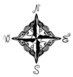 Black and white artistic compass vector