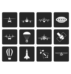 Black different types of Aircraft vector