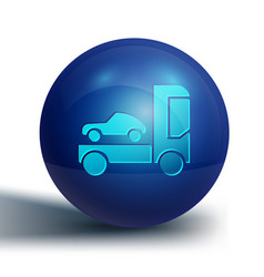 Blue car transporter truck for transportation of vector