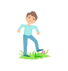Boy Walking On Lawn Grass Breaking Flowers Teenage vector