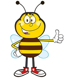 Bumble Bee Cartoon Giving the Thumbs Up vector image