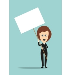 Business woman holding signboard with copyspace vector image