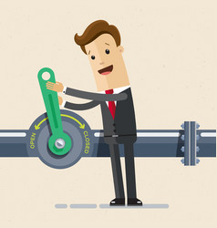 Businessman open crane of oil and gas industry oil vector