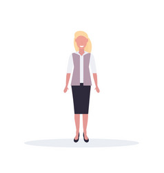 businesswoman standing pose happy blonde woman vector image