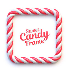 Candy cane square frame on white background vector