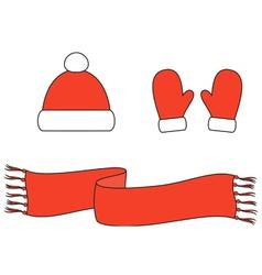 Cap mittens scarf vector image