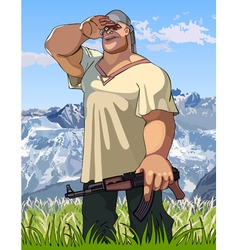 cartoon burly man with a gun in his hand looks vector image