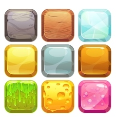 Cartoon square buttons set app icons vector