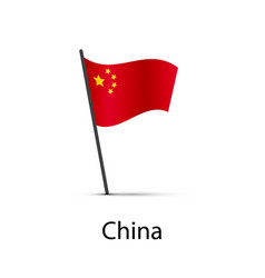 china flag on pole infographic element on white vector image