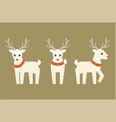 christmas reindeer with red and gold collar vector image