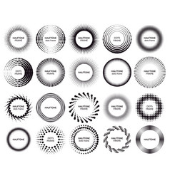 circle dotted frames gradient halftone dots vector image