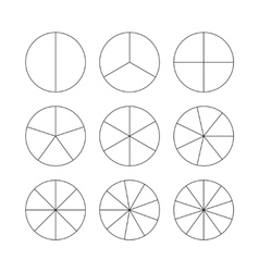 Circle segments set black thin outline vector