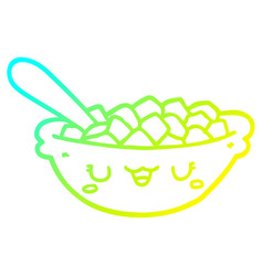 Cold gradient line drawing cute cartoon bowl of vector