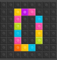 colorful brick block letter d flat design vector image