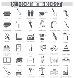 Construction and building tools black icon vector