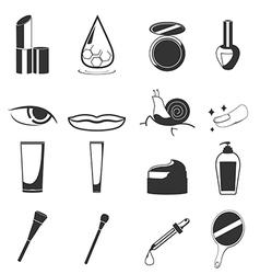 Cosmetic Beauty Black Icon Set vector image