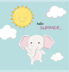 cute elephant hello summer banner hand drawn style vector image