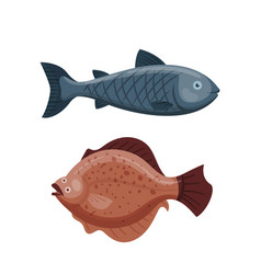 Cute fish cartoon funny swimming graphic animal vector
