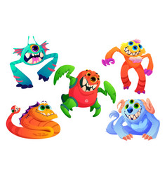 cute little monsters funny alien animals vector image
