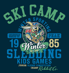 cute rabbit sledding winter camp vector image