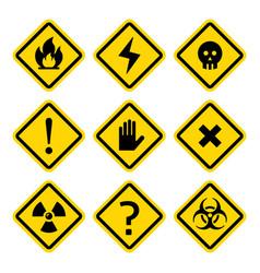 danger rhombus yellow warning signs vector image