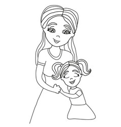 daughter hugging her mom vector image