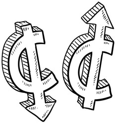 doodle currency up down cent vector image