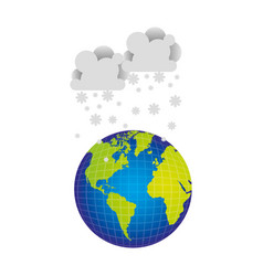 earth planet with clouds snow icon vector image