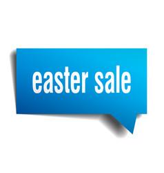 Easter sale blue 3d speech bubble vector