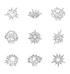 Explosion destruction icons set outline style vector