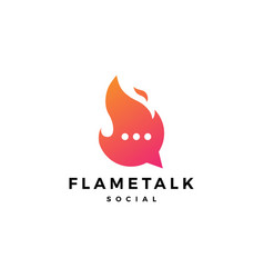 fire flame talk chat bubble logo icon vector image