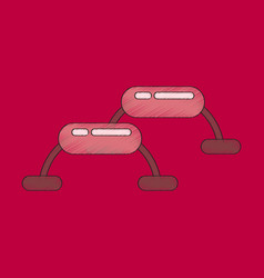 Flat shading style icon steps for fitness vector