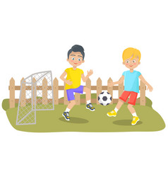 friends playing soccer and passing ball to each vector image