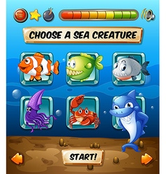 Game template with fish in the sea vector