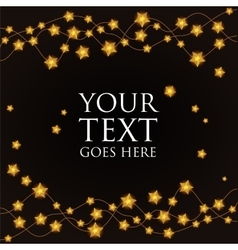 garland of gold stars on a black background vector image