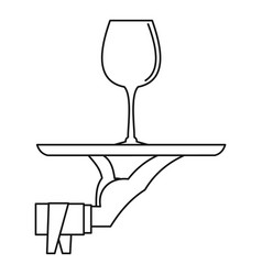 Glass of wine on a tray icon outline style vector