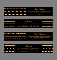 gold chains and jewelry cards vector image