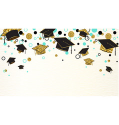 graduation word with graduate cap black and gold vector image