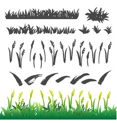 grass drawing elements vector image