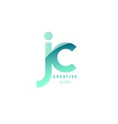 Green gradient pastel modern jc j c alphabet vector
