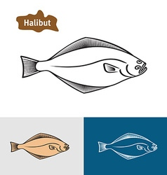 Halibut fish sumple one color silhouette vector image