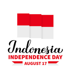 Happy indonesia independence day calligraphy vector
