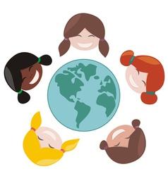 happy mulicultural girls around world vector image