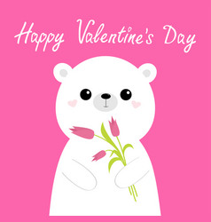 happy valentines day cute white bear holding vector image