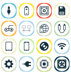 hardware icons set with usb cable gamepad global vector image