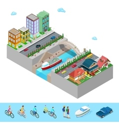 Isometric City with Buildings Bridge and River vector image