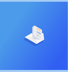 Isometric email inbox electronic communication vector