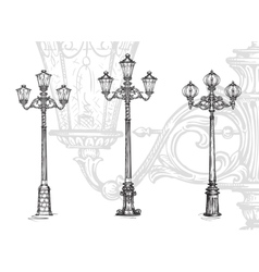 Lamppost or street lamp Sketch vector image
