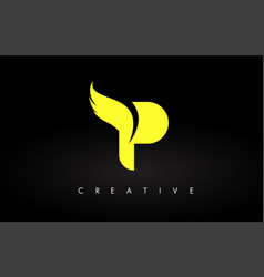 Letter p logo with yellow colors and wing design vector