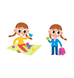 Little girl playing at home and going to school vector